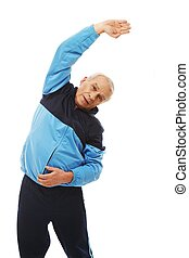 Senior man in training suit doing warm-up stretching...