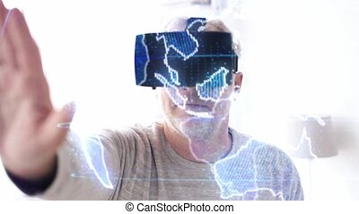 senior man in vr headset with earth projection - technology,...