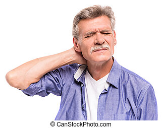 Senior man is suffering from neck pain.