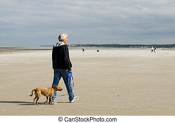 Senior man is walking his dog - senior man is walking his...