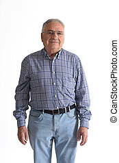 senior man isolated on white