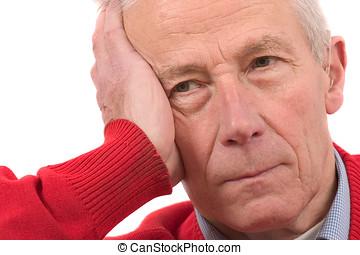 Senior man looking a bit depressed - senior
