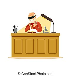 Senior man making jewelry in workshop, craft hobby or profession colorful character vector Illustration