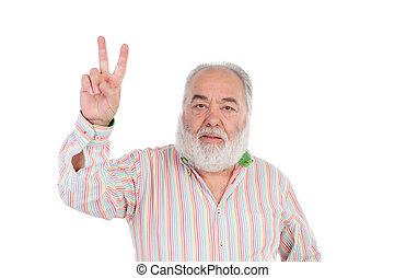 Senior man making the gesture of victory
