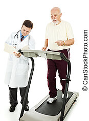 Senior man exercising on a treadmill while his doctor monitors his progress. Isolated.