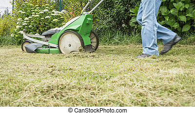 Senior man mowing the lawn with a lawnmower