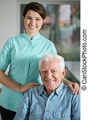 Senior man needing welfare service - Portrait of senior man...