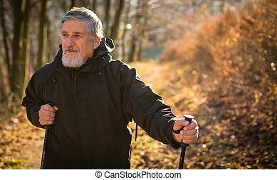 Senior man nordic walking, enjoying the outdoors