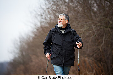 Senior man nordic walking