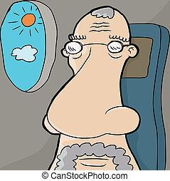 Senior Man on Plane