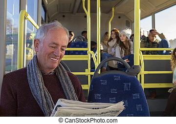 Senior man on the bus