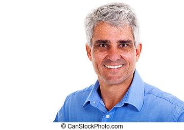 senior man on white background - cheeful senior man on white...