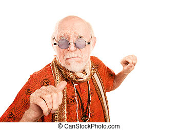 Senior Man on White Background Throwing a Punch