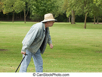 senior man out for a walk