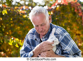 Senior man playing with white cat
