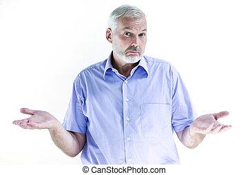 Senior man portrait dumb ignorance - caucasian senior man ...