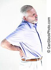 Senior man portrait lumbago