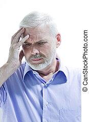 caucasian senior man portrait memory lapse isolated studio on white backgroun