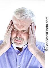 Senior man portrait migraine