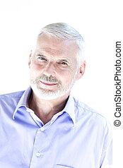 Senior man portrait smiling cheerful