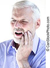Senior man portrait toothache pain - caucasian senior man...