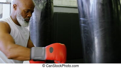 Senior man practicing boxing on the punching bag 4k