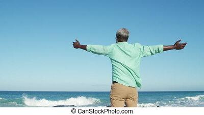 Senior man raising his arms at the beach - Rear view of a ...