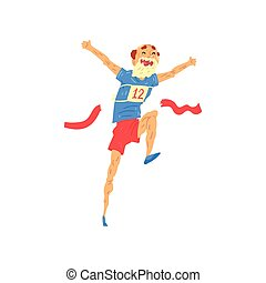 Senior man running, elderly man taking part in marathon, healthy active lifestyle colorful characters vector Illustration on a white background