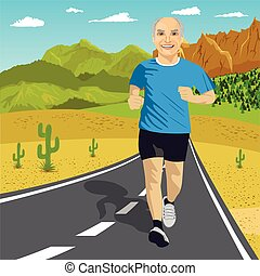 Senior man running or sprinting on road in mountains. Fit mature male fitness runner during outdoor workout