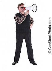 Senior Man Shouting Through Megaphone