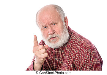 Senior man shows forefinger gesture, isolated on white