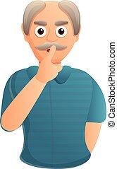 Senior man silence icon, cartoon style - Senior man silence ...