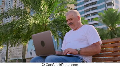 Senior man sitting in Park with laptop in summer and chatting