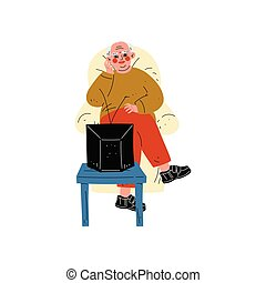 Senior Man Sitting on Armchair Watching TV, Elderly Man Daily Activity Vector Illustration