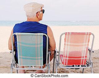 Senior man Sitting On the Beach