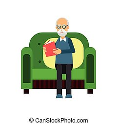 Senior man sitting on the green sofa and reading a book, pensioner people leisure and activity vector Illustration