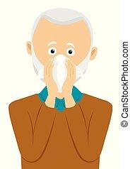 Senior man sneezing into handkerchief. Elderly man having...