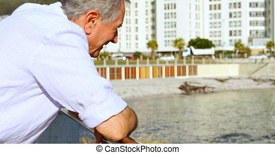Senior man standing near railing 4k - Senior man standing...