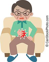 Senior man suffering from abdominal pain