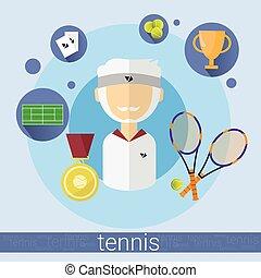 Senior Man Tennis Player Icon