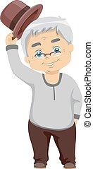 Senior Man Tipping Hat - Illustration of a Senior Citizen...