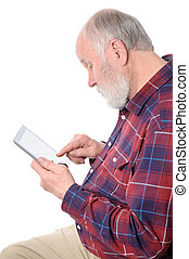 Senior man touching something at tablet computer screen, isolated on white