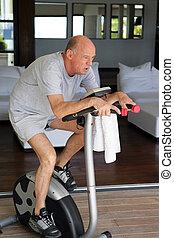 senior man training at home