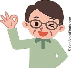 Senior man - Vector illustration.