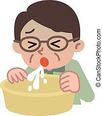 Senior man vomiting - Vector illustration.Original paintings...