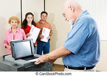 Senior Man Voting