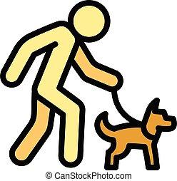 Senior man walking dog icon, outline style