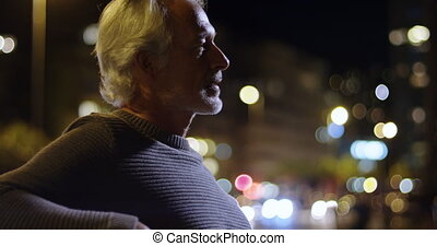 Senior man walking in the city 4k