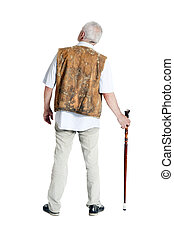 Senior man walking with a cane