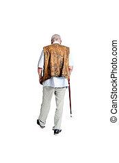 Senior man walking with a cane